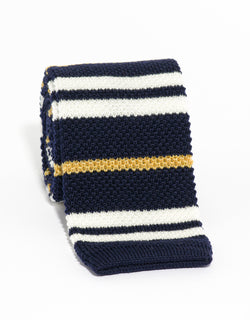 WOOL KNIT TIE NAVY/WHITE/GOLD