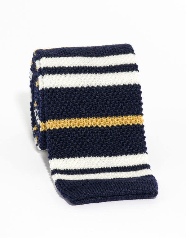 SILK KNIT TIE NAVY/WHITE/GOLD