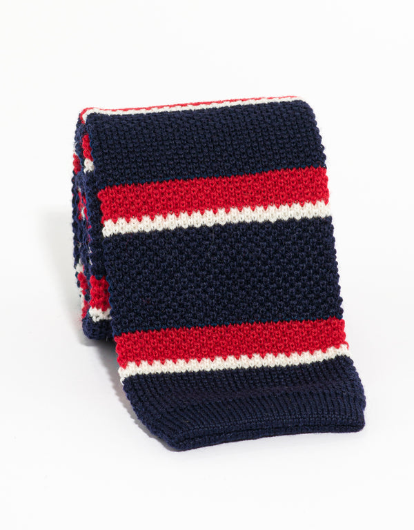 SILK KNIT TIE NAVY/RED/WHITE