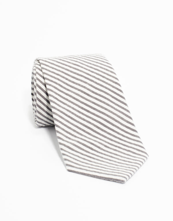 COTTON SEERSUCKER TIE - GRY/WHT