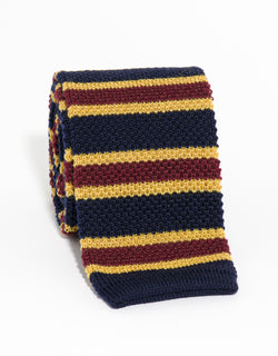 SILK KNIT TIE NAVY/BURGUNDY/GOLD
