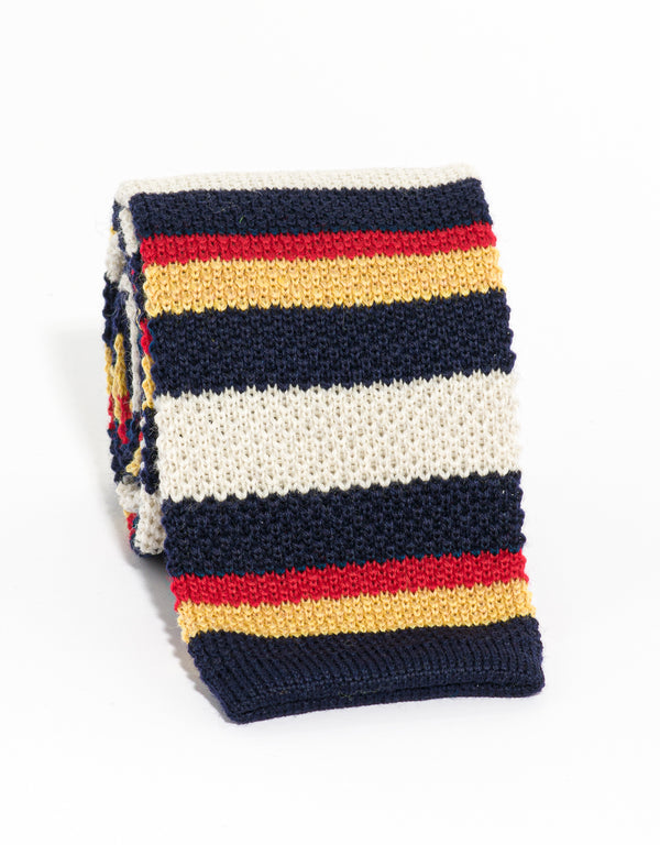 WOOL KNIT TIE NAVY/WHITE/GOLD/RED