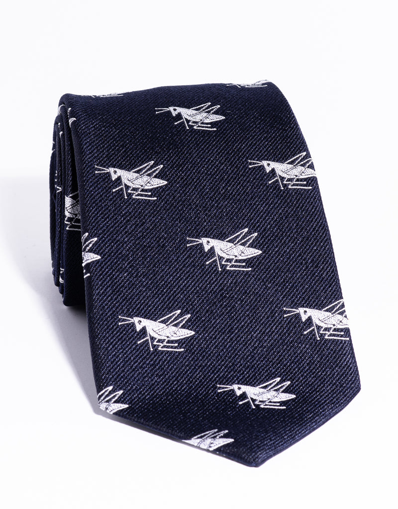 J. PRESS EMBLEMATIC CRICKET TIE - NAVY/SILVER