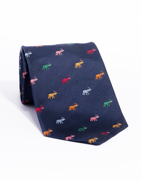 PRINTED ELEPHANT TIE - NAVY/MULTI