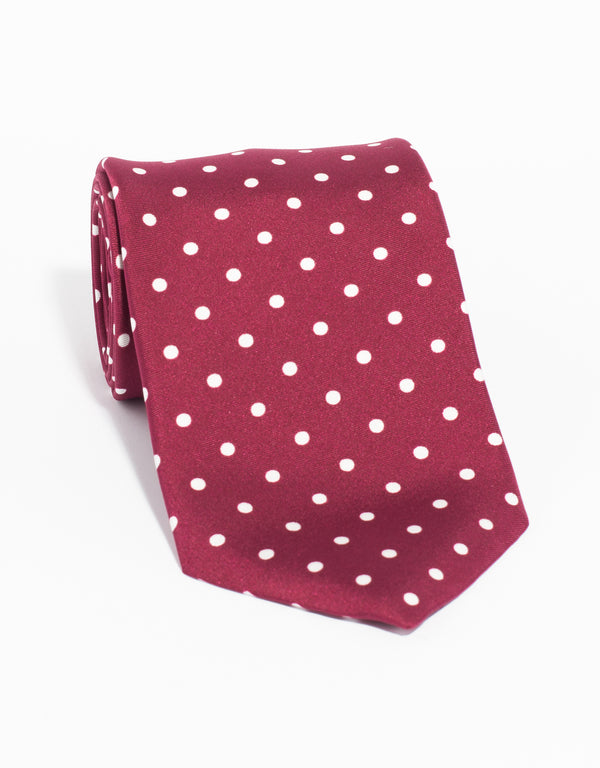 J. PRESS POLKA DOTS TIE - BURGUNDY/WHITE