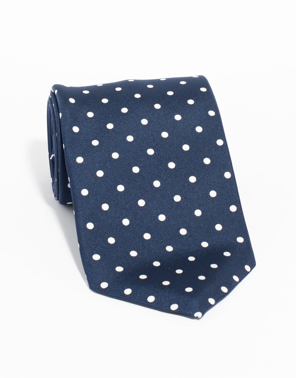 J. PRESS POLKA DOTS TIE - NAVY/WHITE