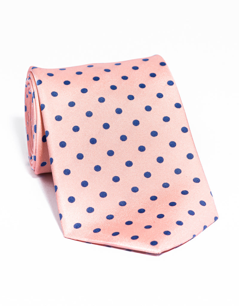 J. PRESS POLKA DOTS TIE - PINK/BLUE