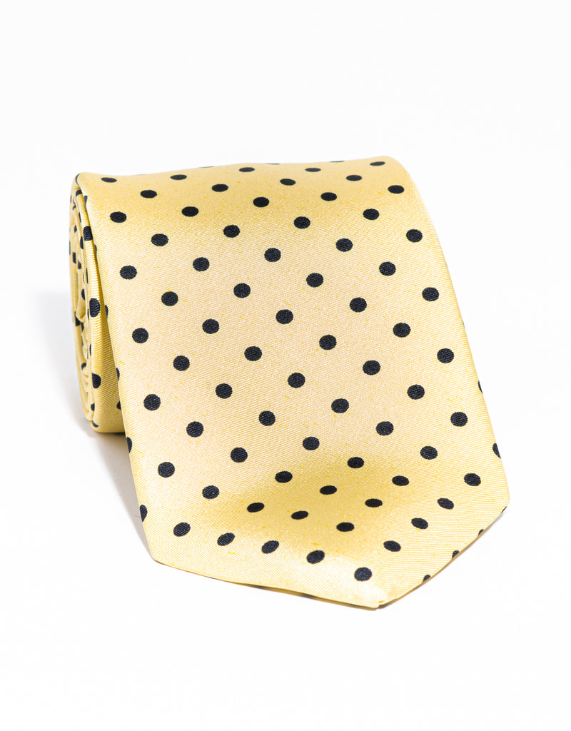 J. PRESS POLKA DOTS TIE - YELLOW/NAVY
