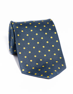 J. PRESS POLKA DOTS TIE - NAVY/YELLOW