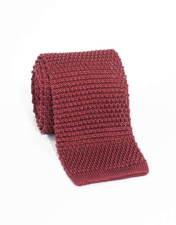 J. PRESS SOLID SILK KNIT TIE - BURGUNDY