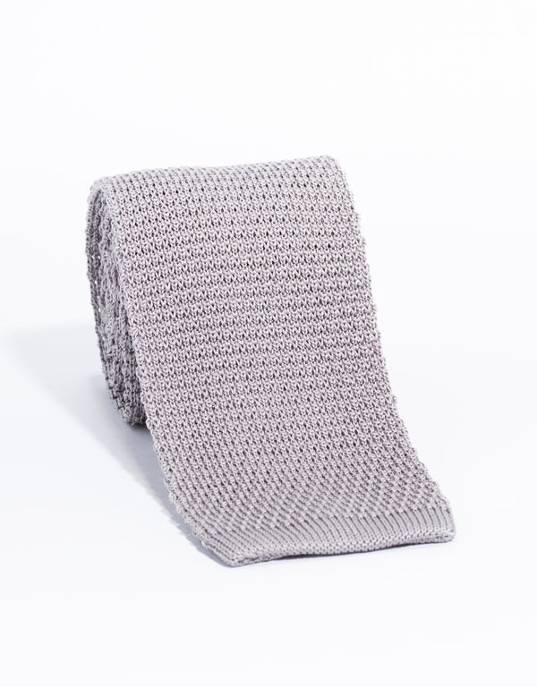 SILK KNIT TIE - SILVER GREY