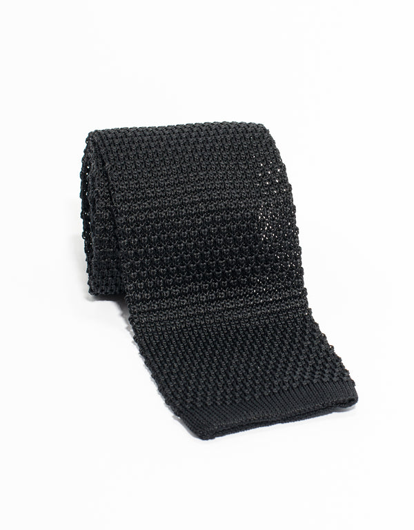 J. PRESS SOLID SILK KNIT TIE - BLACK