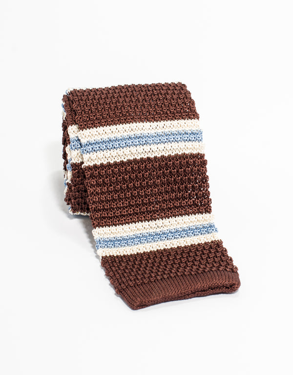 J. PRESS STRIPE KNIT TIE - BROWN/WHITE/LIGHT BLUE