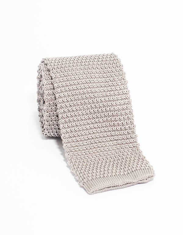 SOLID KNIT TIE - GREY