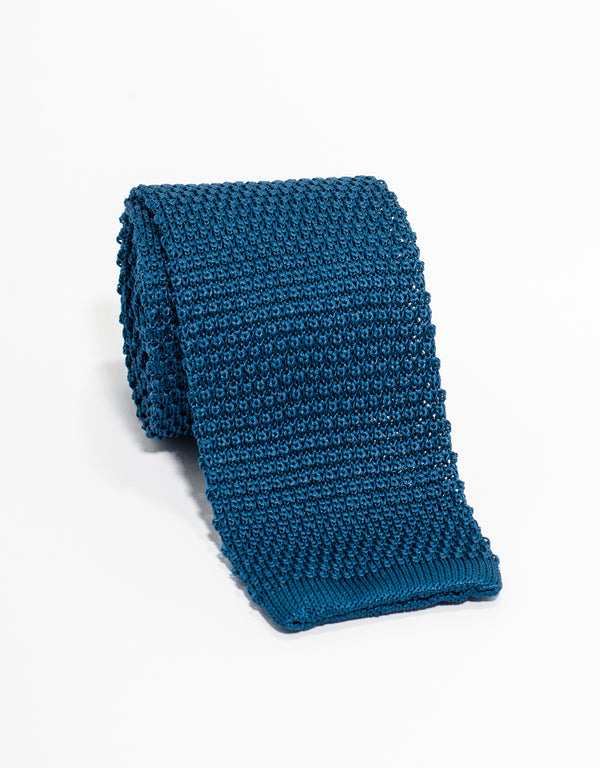 SOLID KNIT TIE - MID BLUE