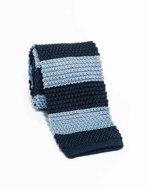 J. PRESS GUARD STRIPE KNIT TIE - NAVY/LIGHT BLUE