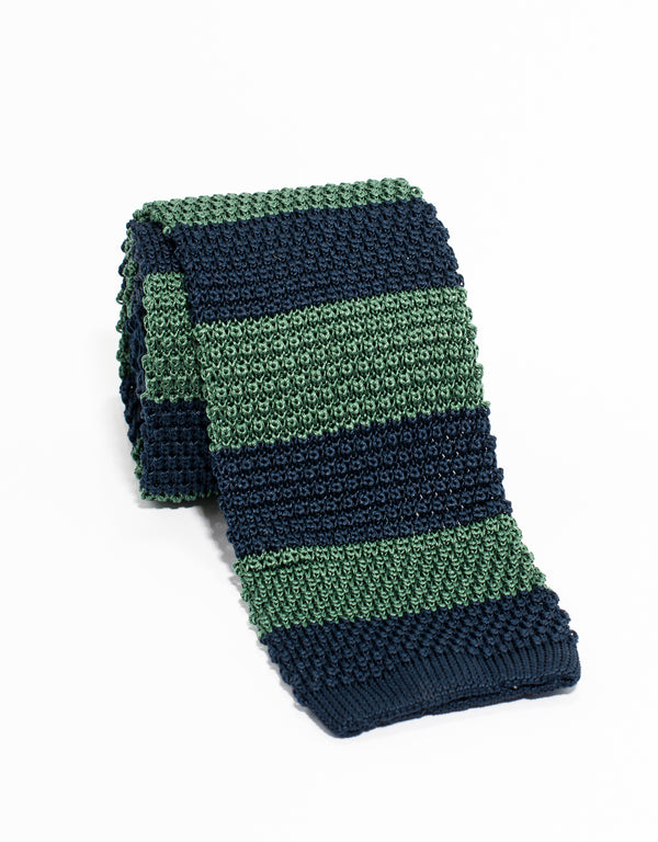 J. PRESS GUARD STRIPE KNIT TIE - NAVY/GREEN