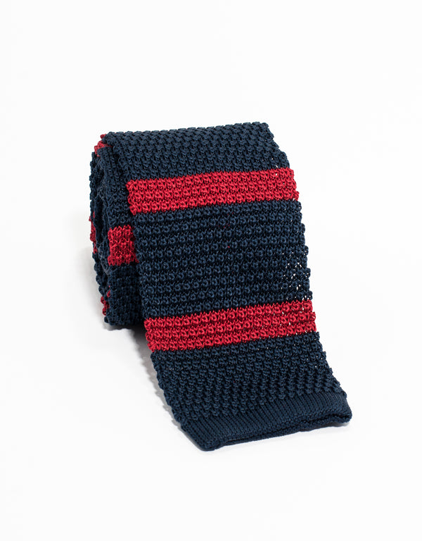 BAR STRIPE KNIT TIE - NAVY/RED