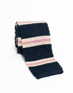 J. PRESS STRIPE KNIT TIE - NAVY/WHITE/PINK