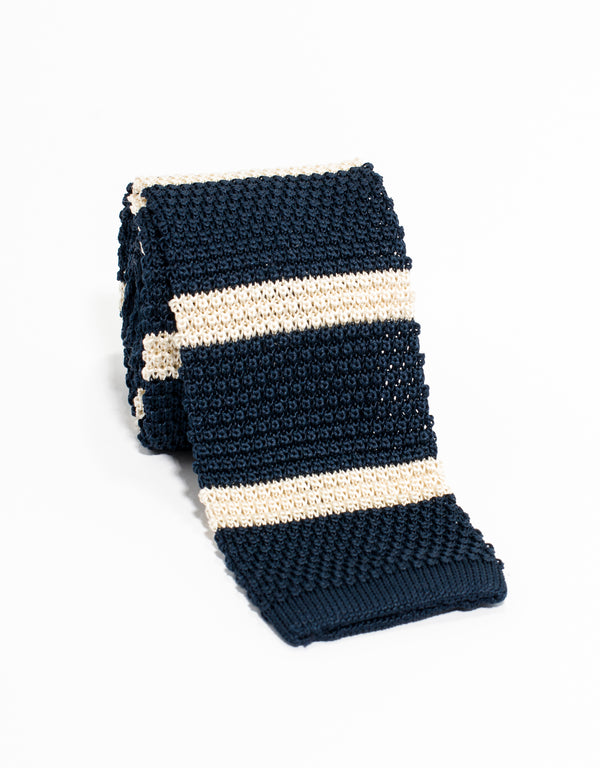 BAR STRIPE KNIT TIE - NAVY/WHT