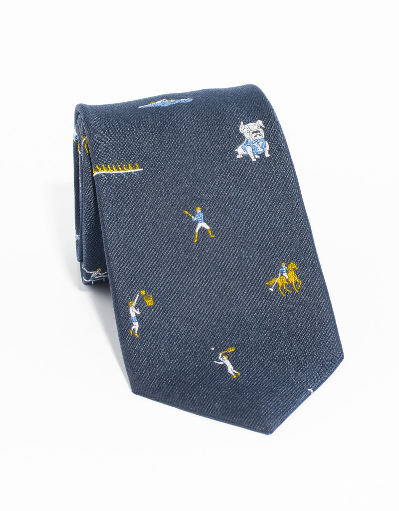 J. PRESS EMBLEMATIC YALE SPORT TIE - NAVY