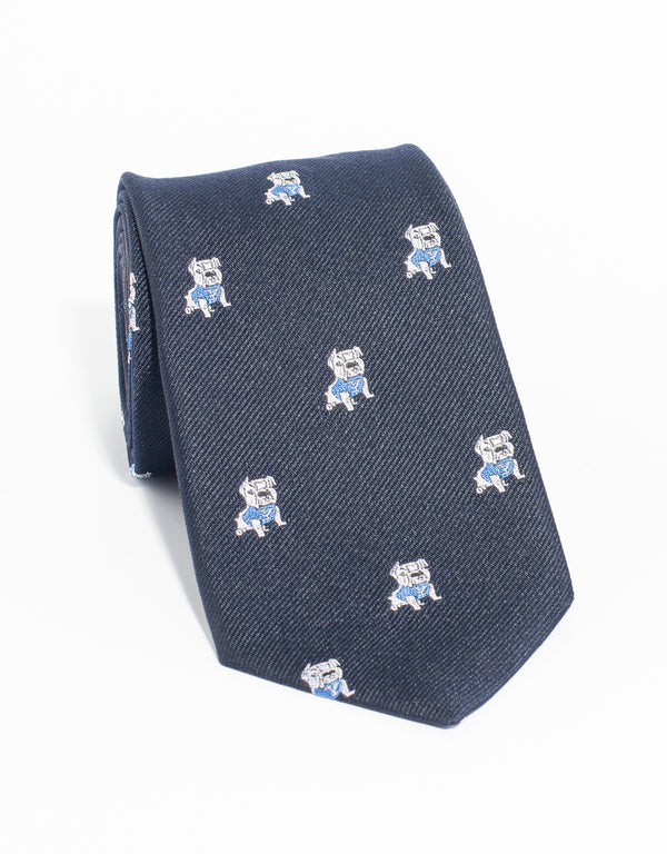 J. PRESS EMBLEMATIC YALE BULLDOG TIE - NAVY