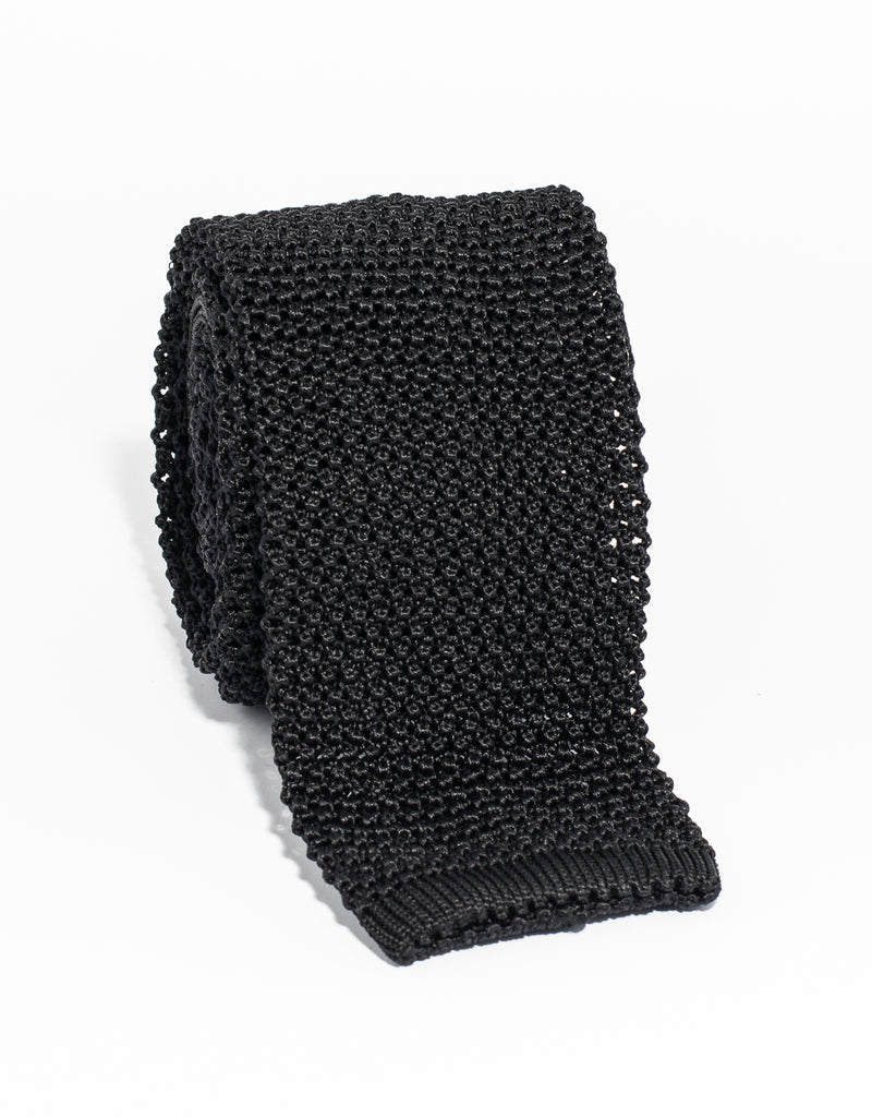 SOLID KNIT TIE - BLACK