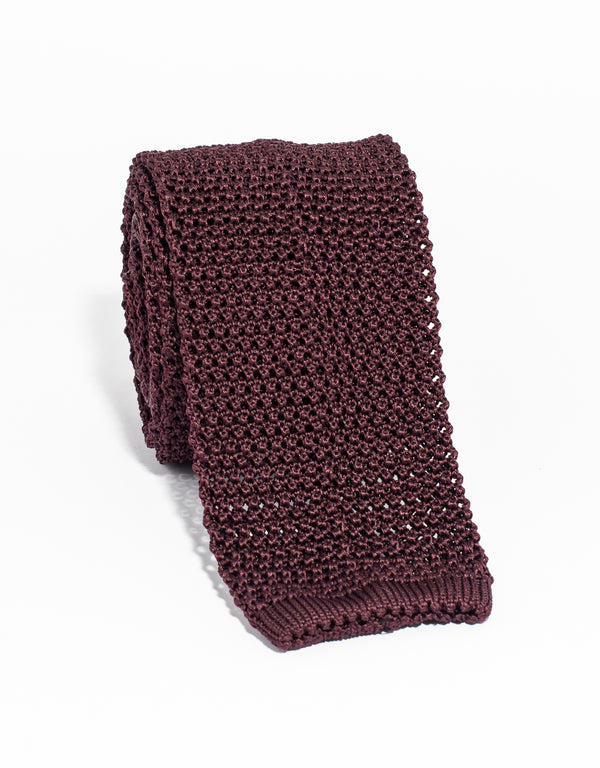 J.PRESS SOLID KNIT TIE - BURGUNDY
