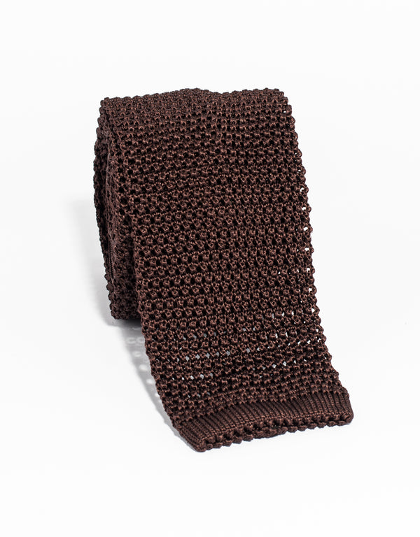 SOLID KNIT TIE - BROWN
