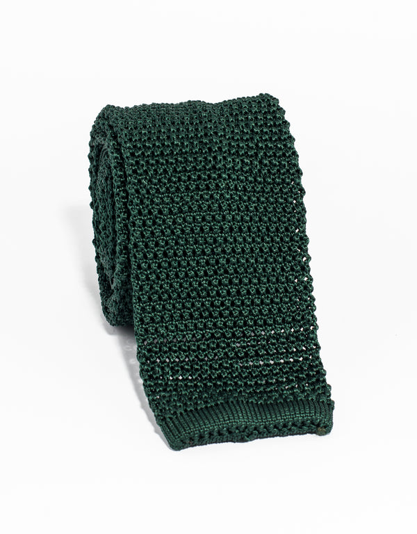 SOLID KNIT TIE - GREEN