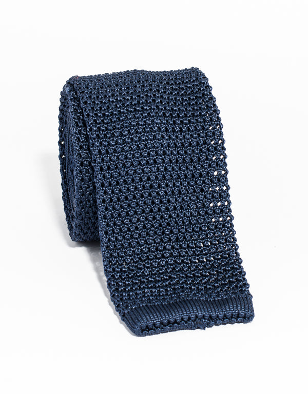 J. PRESS SOLID KNIT TIE - NAVY