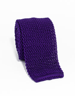 J. PRESS SOLID KNIT TIE - PURPLE