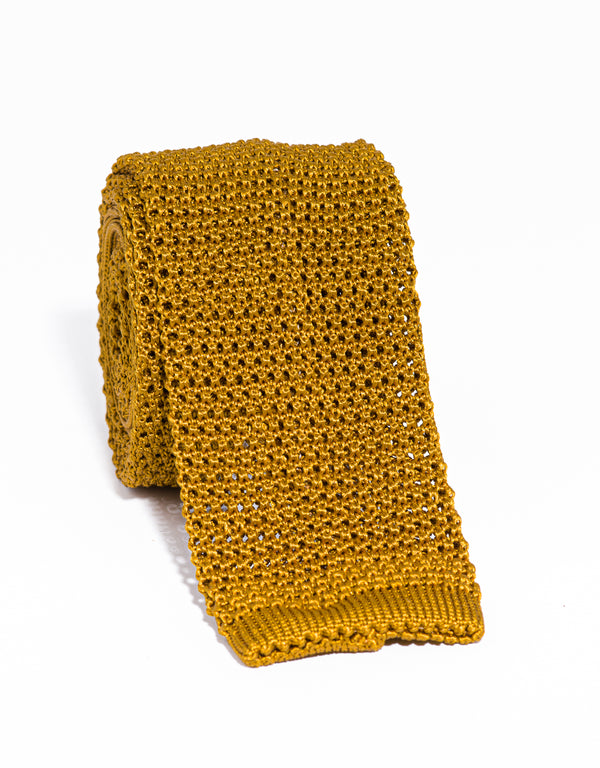 J. PRESS SOLID KNIT TIE - MUSTARD