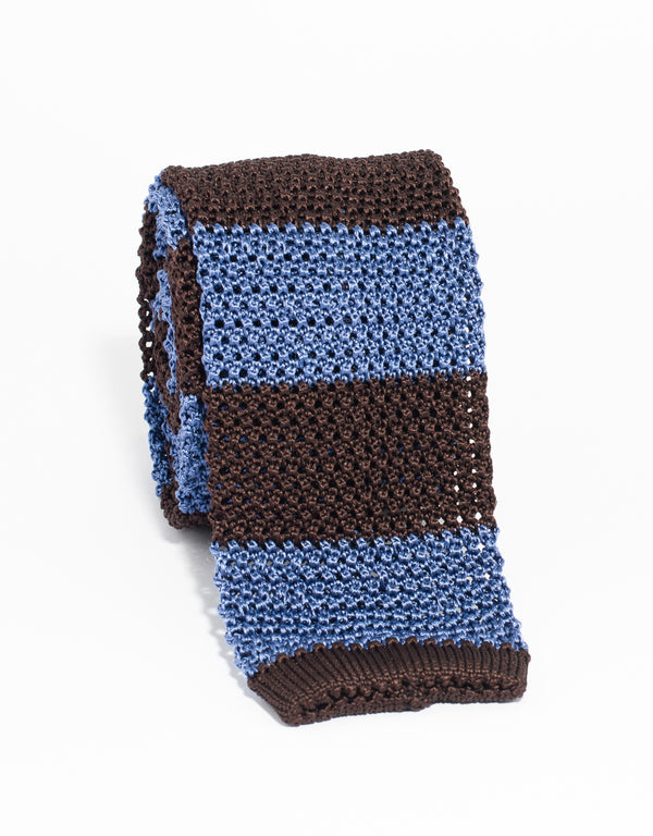 J. PRESS GUARD STRIPE KNIT TIE - BROWN/LIGHT BLUE