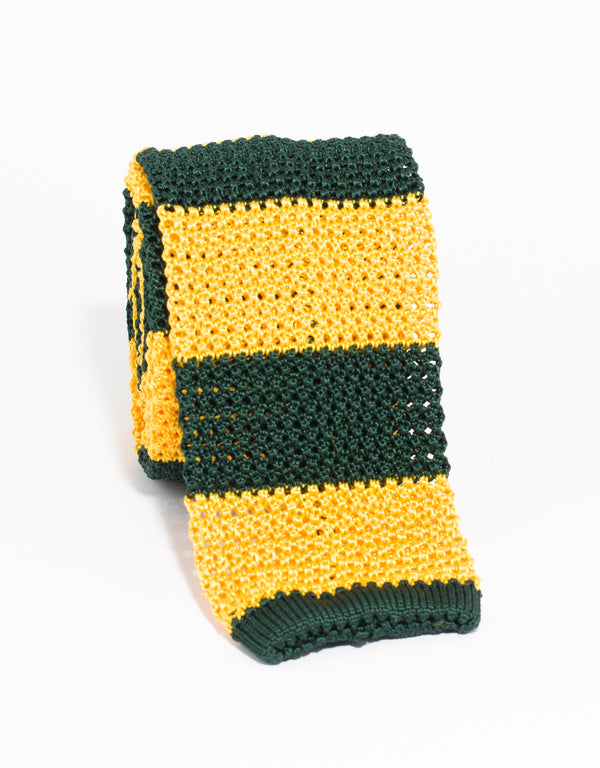 GUARD STRIPE KNIT TIE - GREEN/YELLOW