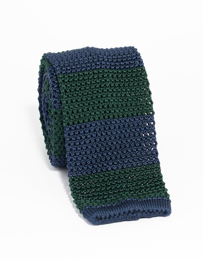 J. PRESS GUARD STRIPE KNIT TIE - GREEN/NAVY