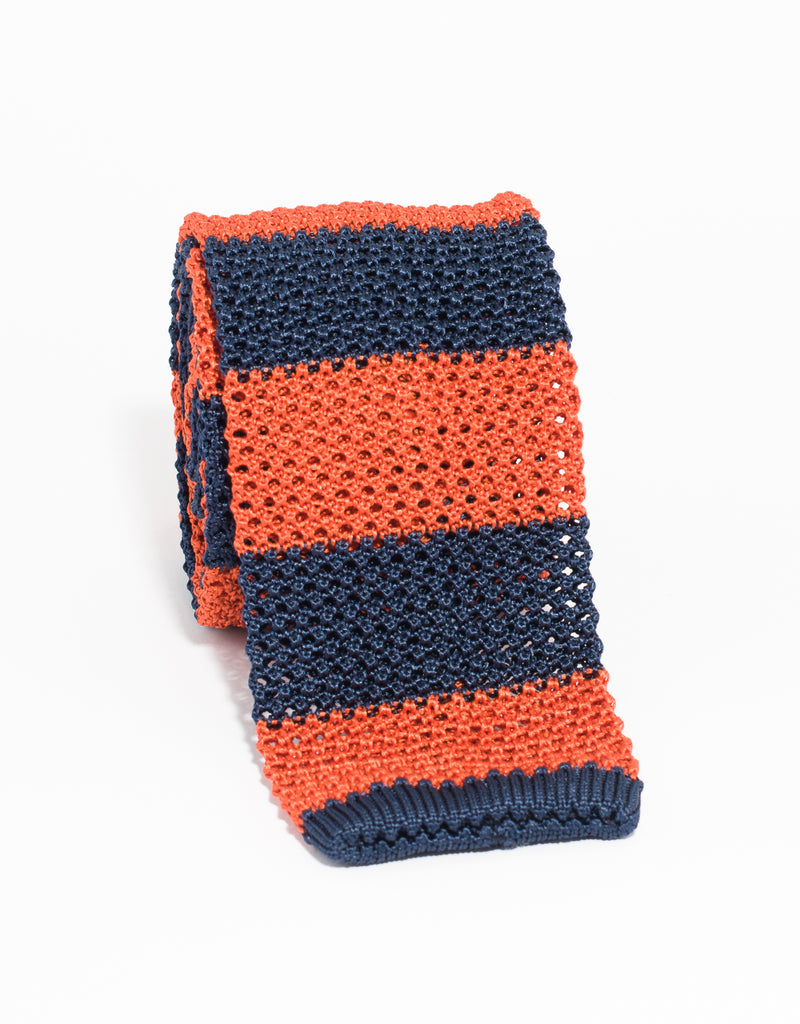 J. PRESS GUARD STRIPE KNIT TIE - NAVY/ORANGE