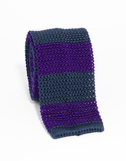 J. PRESS GUARD STRIPE KNIT TIE - NAVY/PURPLE