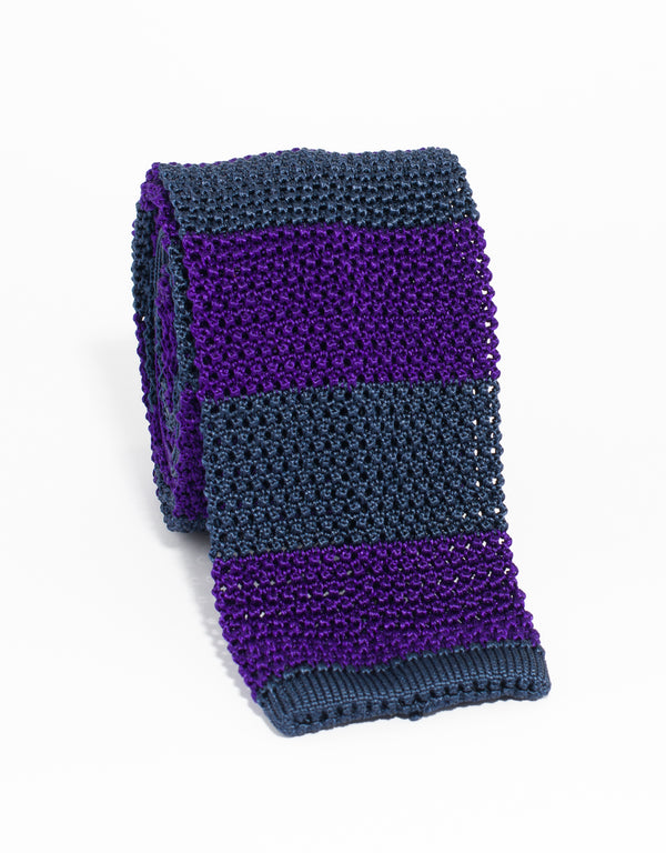 GUARD STRIPE KNIT TIE - NAVY/PURPLE