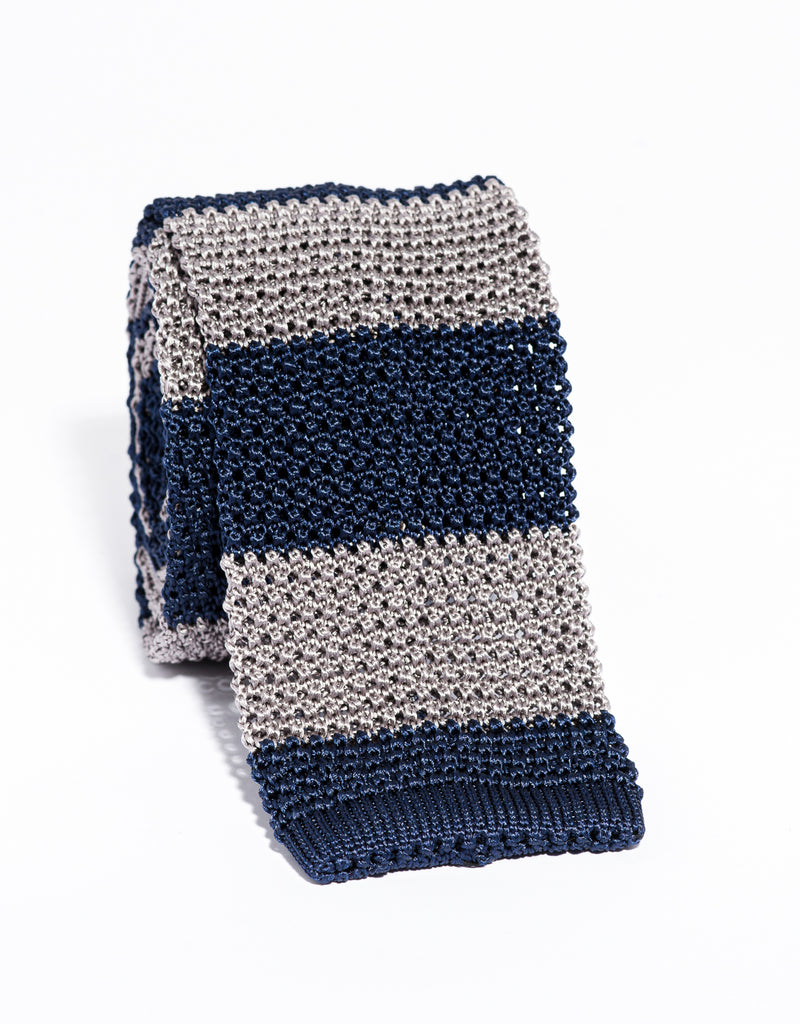 J. PRESS GUARD STRIPE KNIT TIE - NAVY/GREY