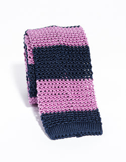 J. PRESS GUARD STRIPE KNIT TIE - NAVY/PINK