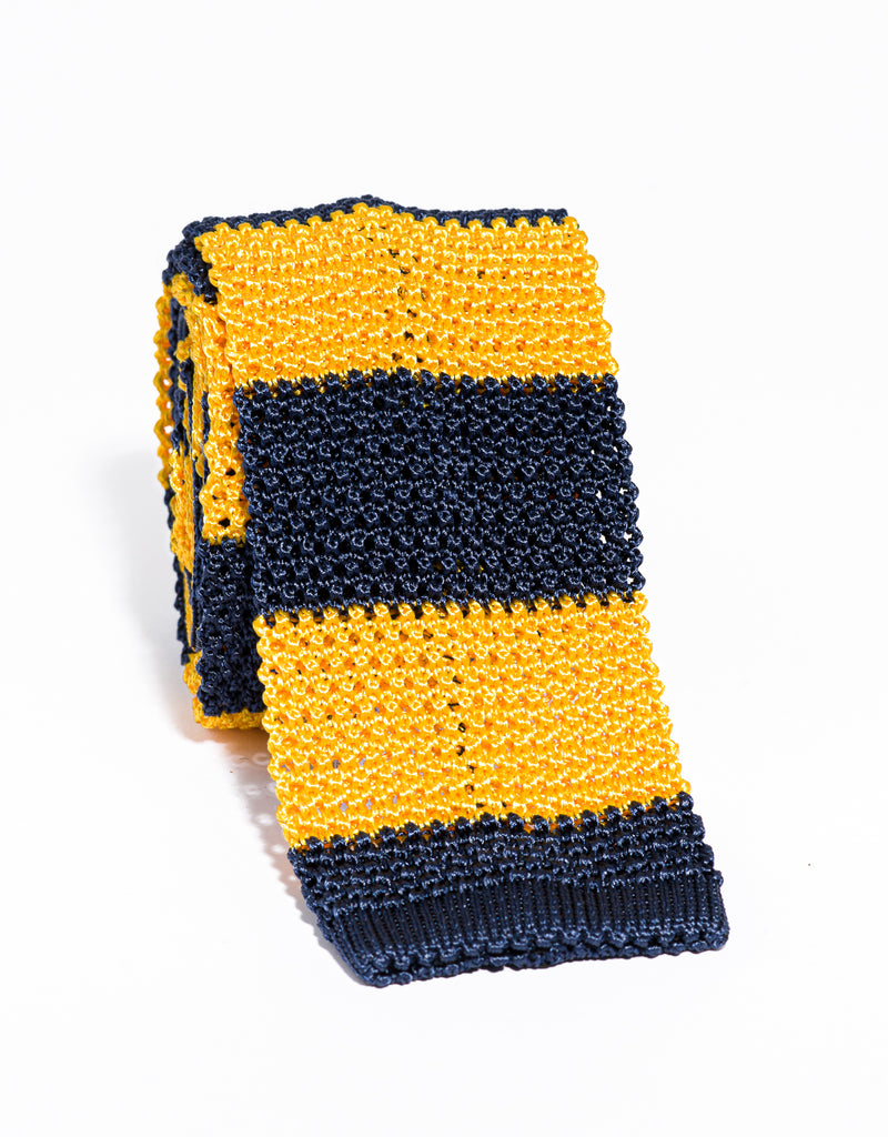 J. PRESS GUARD STRIPE KNIT TIE - NAVY/YELLOW