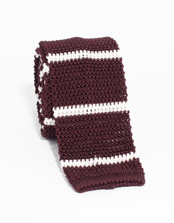 BAR STRIPE KNIT TIE - BURGUNDY/WHITE