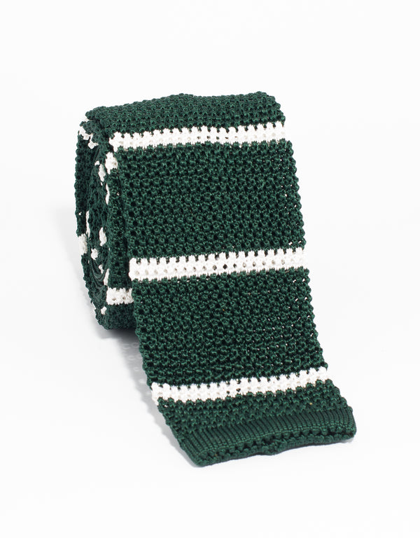 BAR STRIPE KNIT TIE - GREEN/WHITE