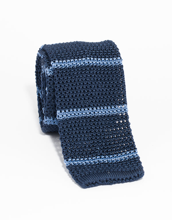 J. PRESS BAR STRIPE KNIT TIE - NAVY/LIGHT BLUE