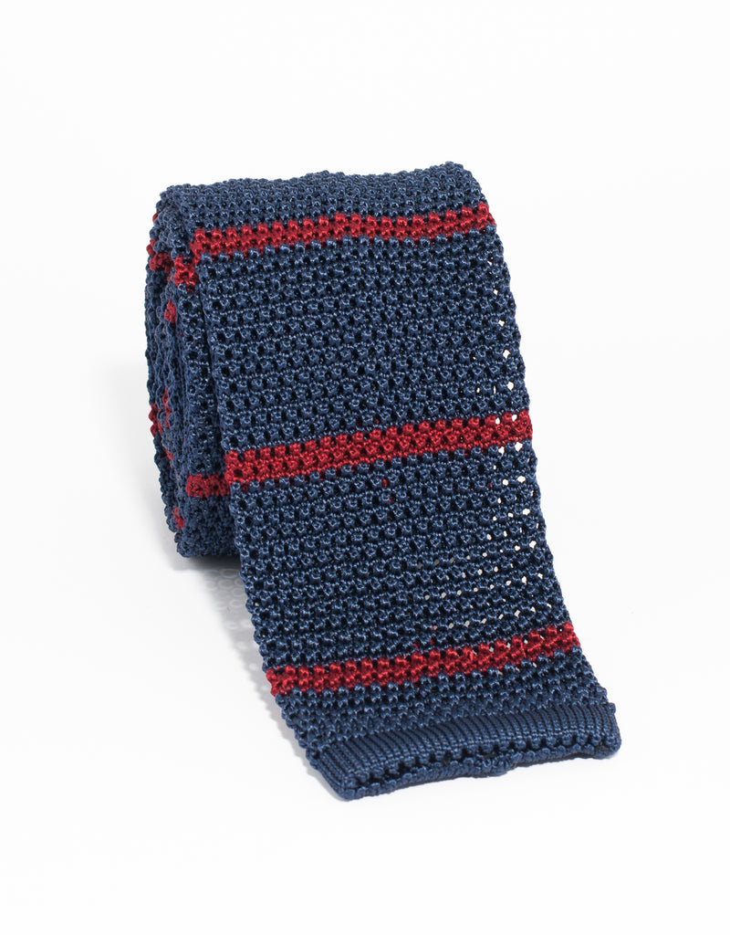 BAR STRIPE KNIT TIE - NAV/RED