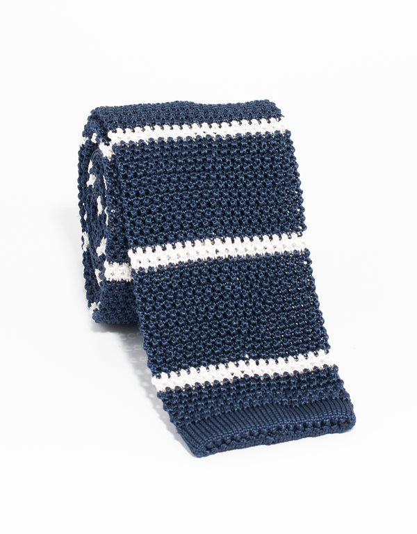 BAR STRIPE KNIT TIE - NAVY/WHITE