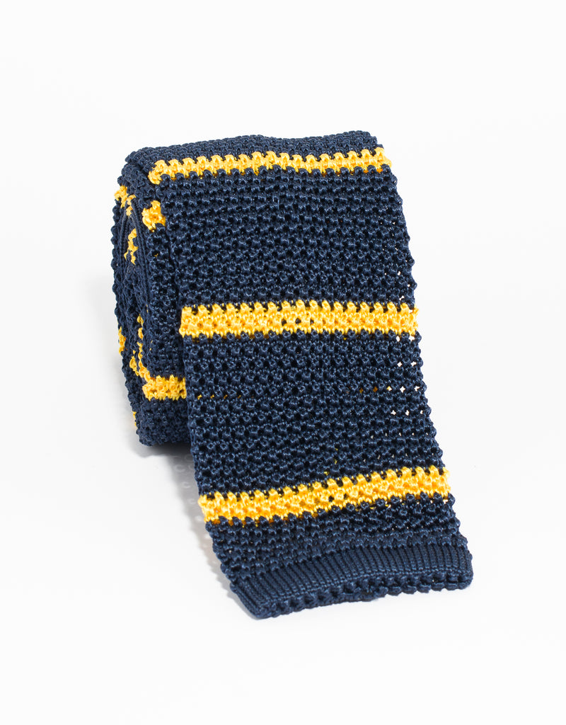 J. PRESS BAR STRIPE KNIT TIE - NAVY/YELLOW