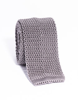 J. PRESS SOLID KNIT TIE - GREY