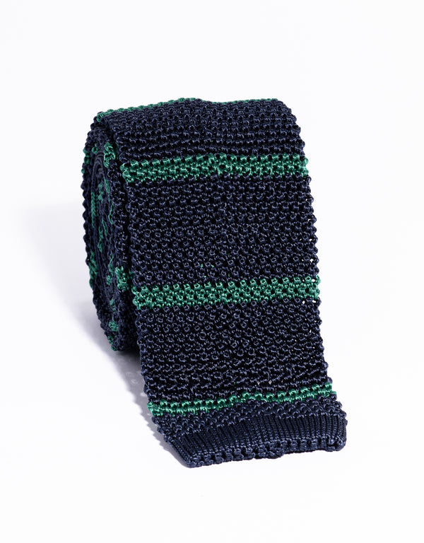 J. PRESS BAR STRIPE KNIT TIE - NAVY/GREEN